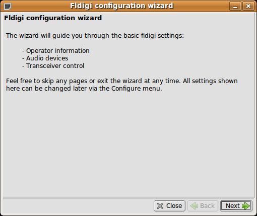 Fldigi Konfigurations-Assistent 1