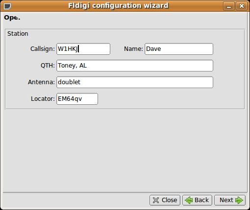 Fldigi Konfigurations-Assistent 2