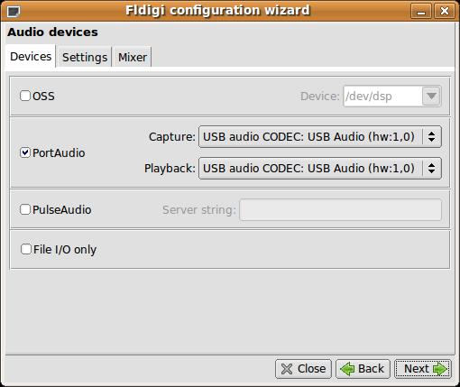 Fldigi Konfigurations-Assistent 3